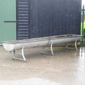 A galvanised feed trough,