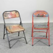 A painted metal folding chair, together with another