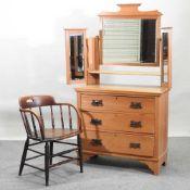 An Edwardian satin walnut dressing chest,