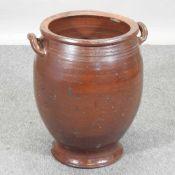A salt glazed olive jar,