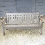 A teak garden bench,