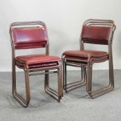 A set of six mid 20th century tubular metal stacking dining chairs