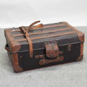 A vintage leather bound trunk