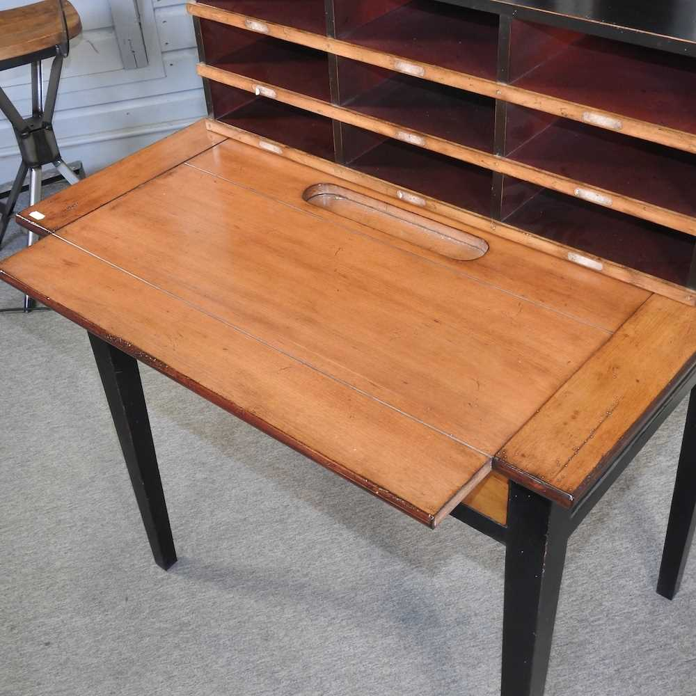 A reproduction French style fruit wood and black painted desk - Image 11 of 15