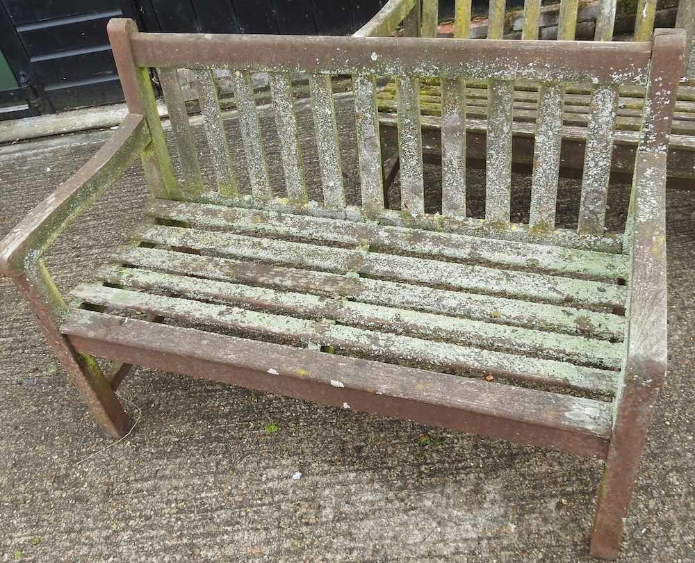 A teak slatted garden bench - Image 4 of 5