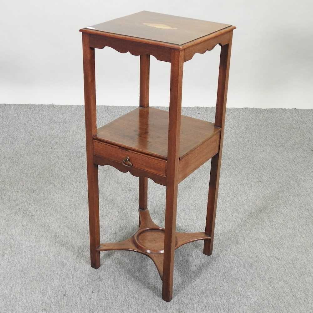 A George III and later mahogany and inlaid night stand - Image 3 of 5