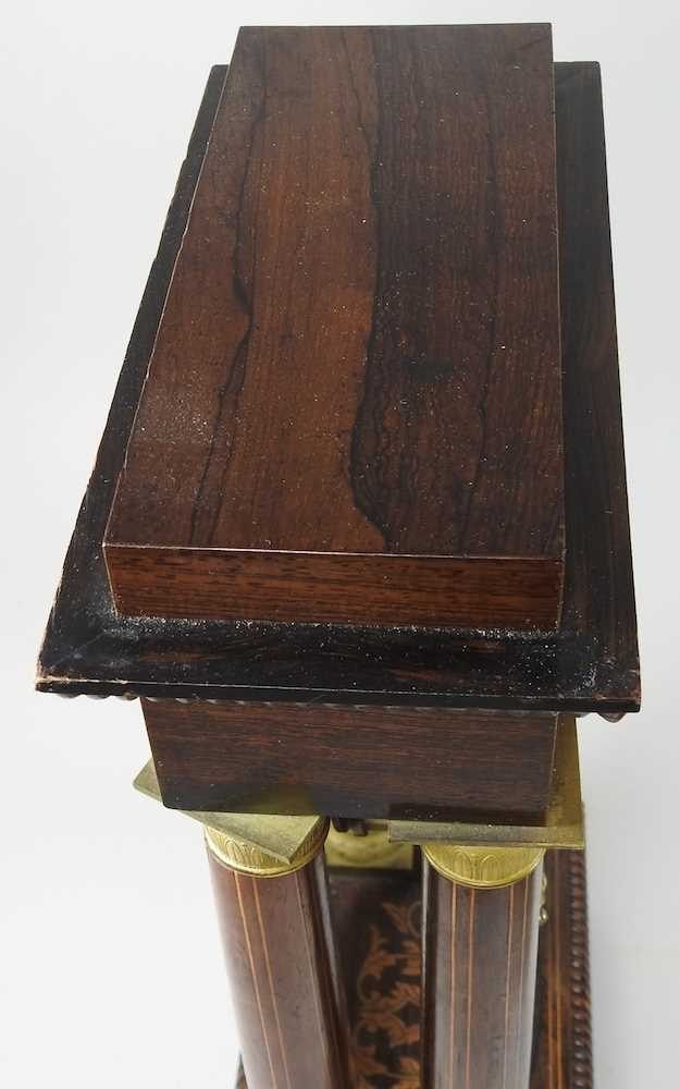 A Napoleon III rosewood and marquetry portico clock - Image 13 of 13