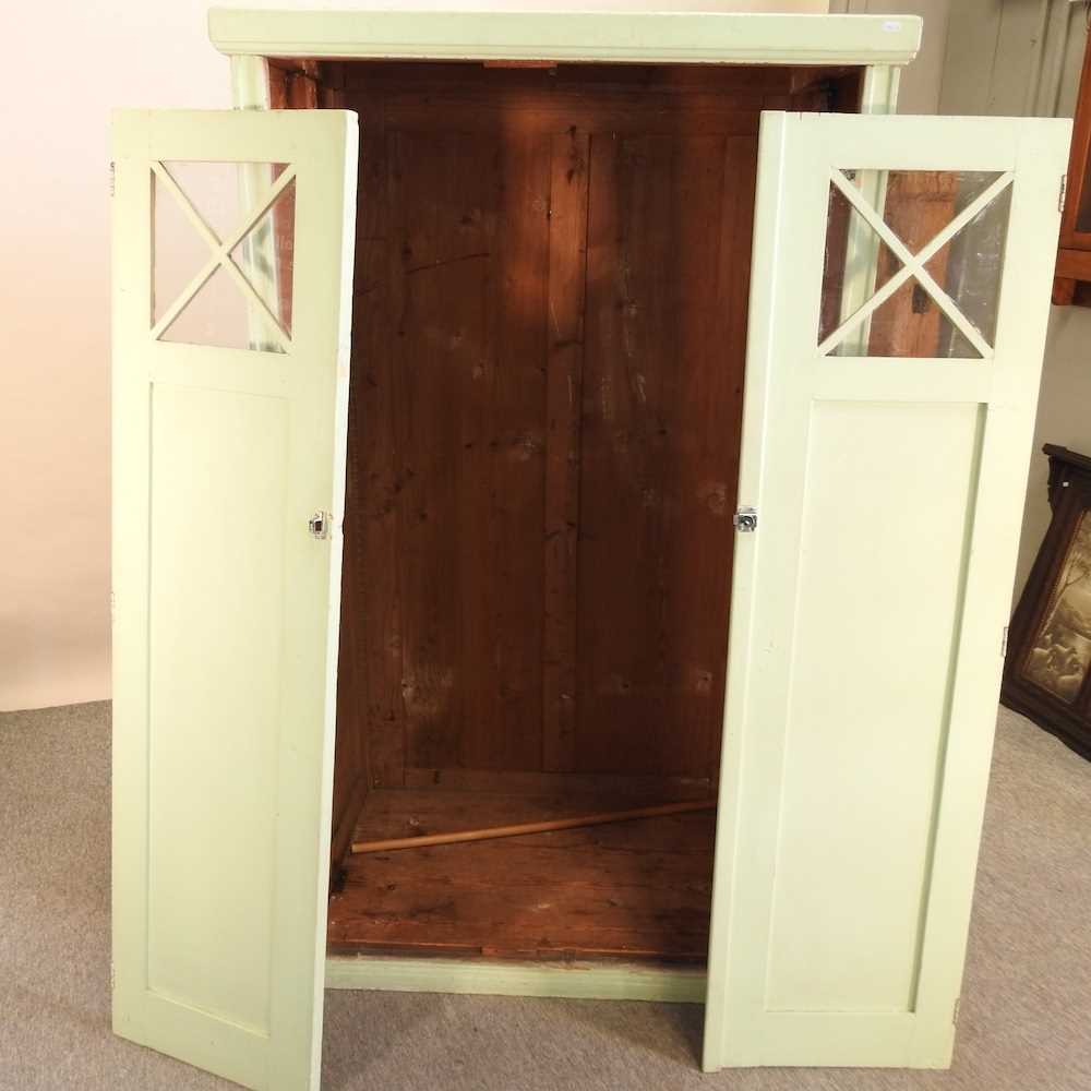 An early 20th century green painted French armoire - Image 2 of 8
