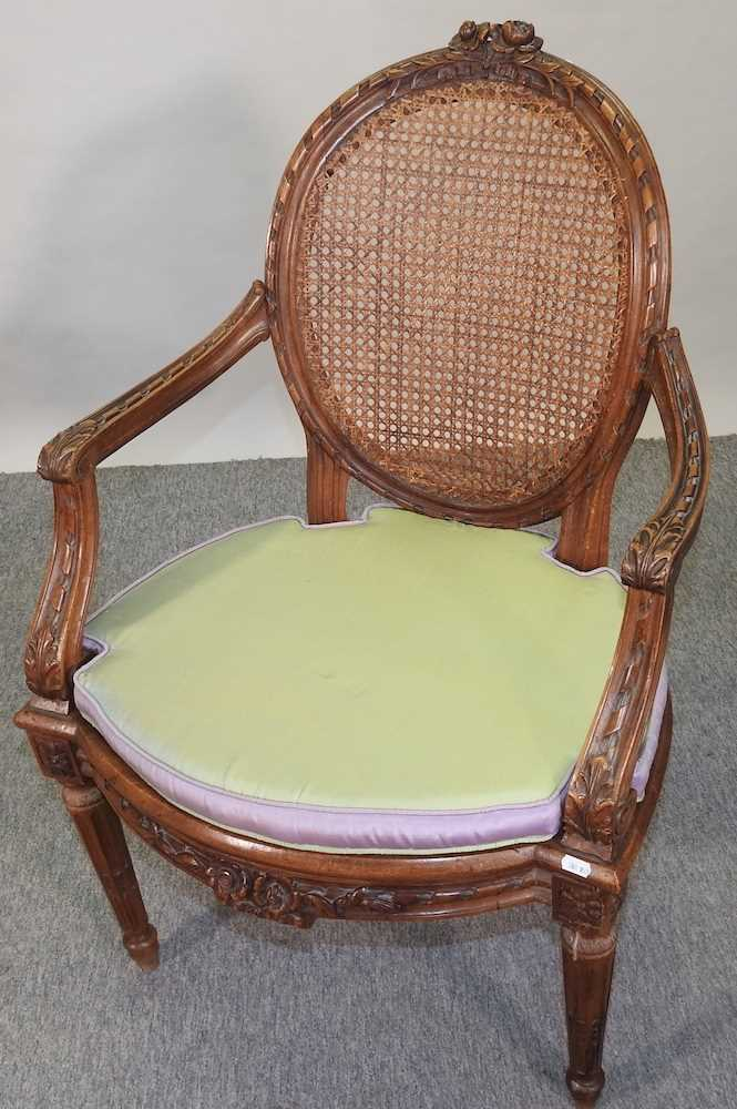 A pair of early 20th century Louis XVI style armchairs - Image 10 of 15