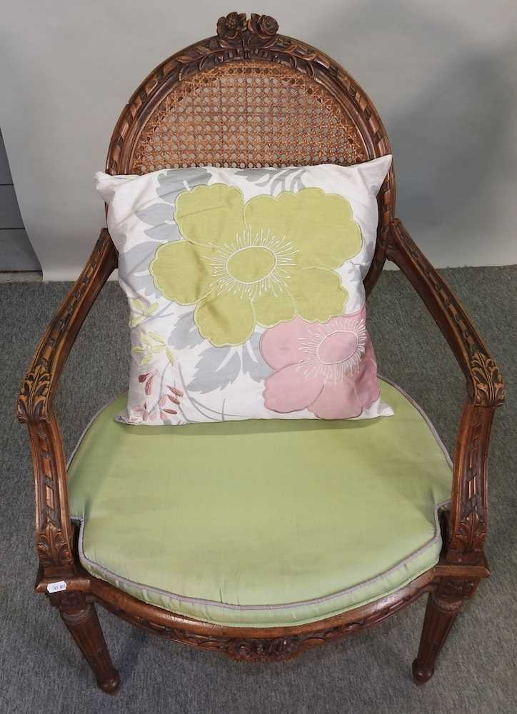 A pair of early 20th century Louis XVI style armchairs - Image 4 of 15