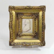 A miniature wax portrait bust of the Duke of Wellington
