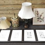 A modern floral pottery table lamp and shade