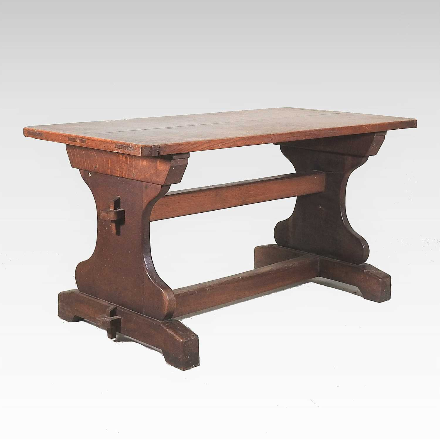 A late 19th century oak refectory table
