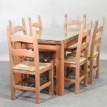 A modern pine dining table