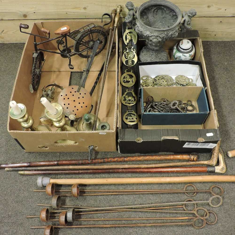 Two boxes of metal wares and other items