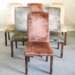 A set of six coloured velvet upholstered high back dining chairs