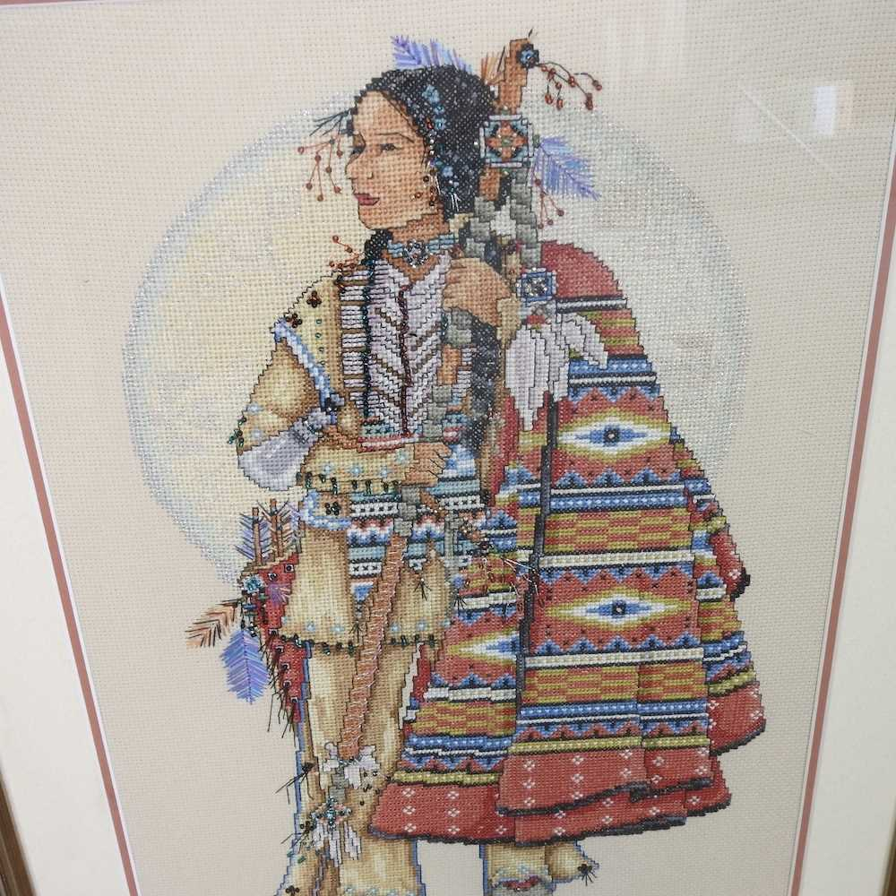 A pair of beaded woolwork portraits - Image 2 of 7
