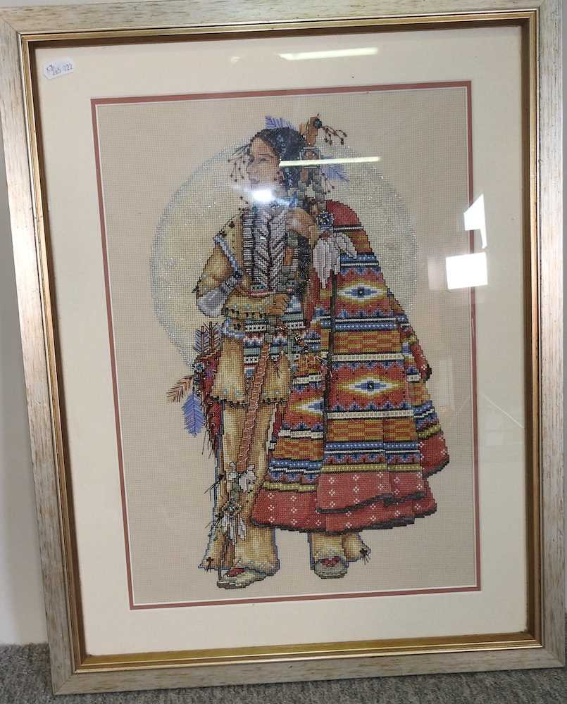 A pair of beaded woolwork portraits - Image 7 of 7