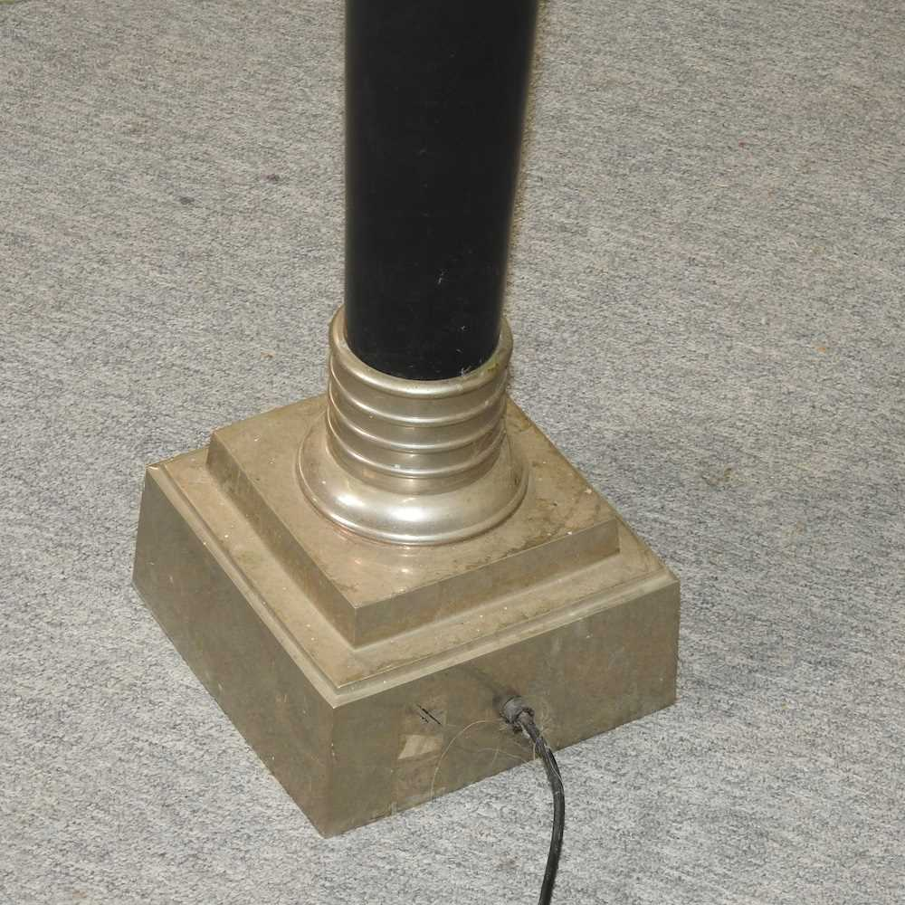 A modern black painted standard lamp and shade - Image 6 of 7