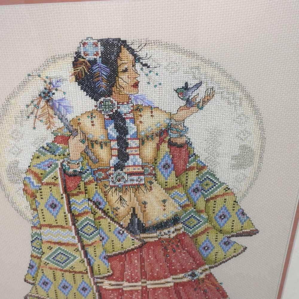 A pair of beaded woolwork portraits - Image 5 of 7