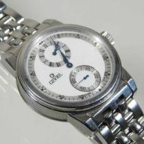 A modern Gevril steel cased chronograph wristwatch