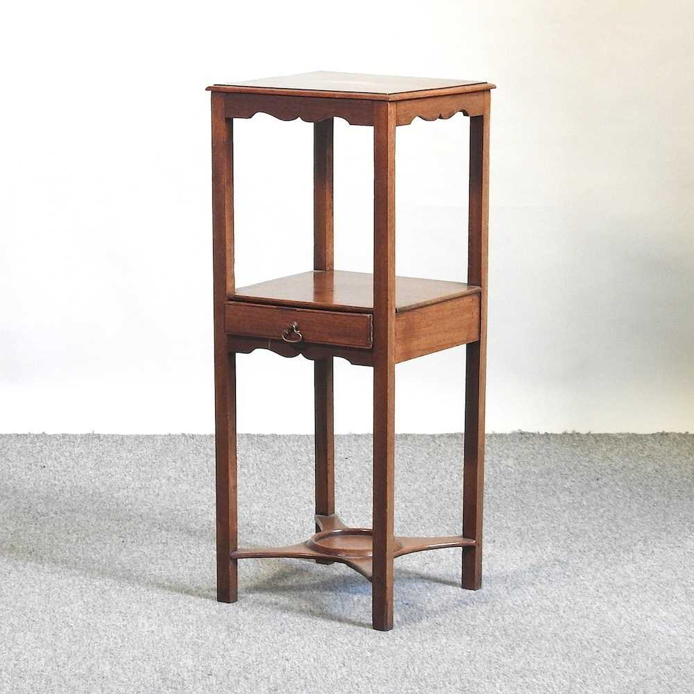 A George III and later mahogany and inlaid night stand