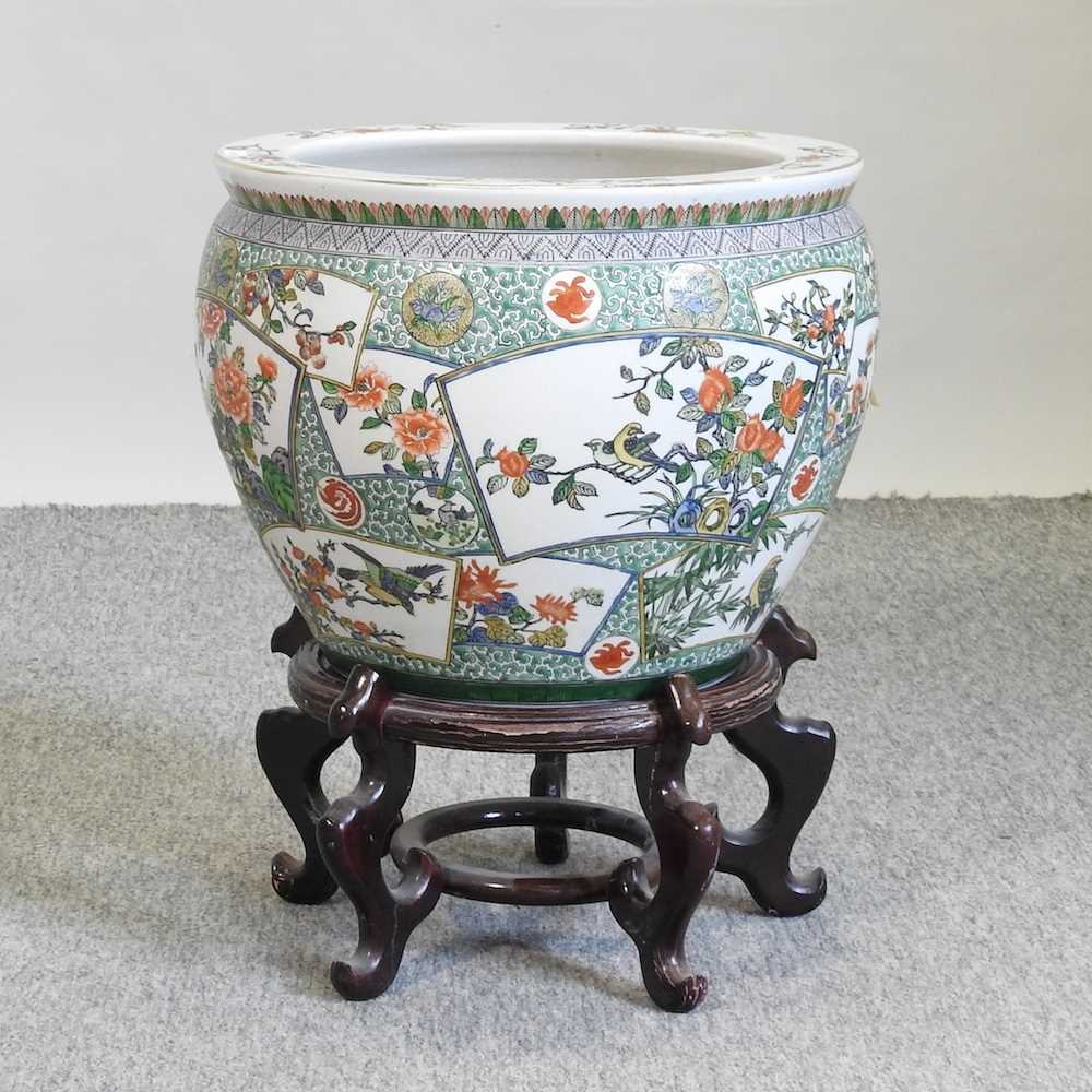 A 20th century Chinese famille verte porcelain fish bowl