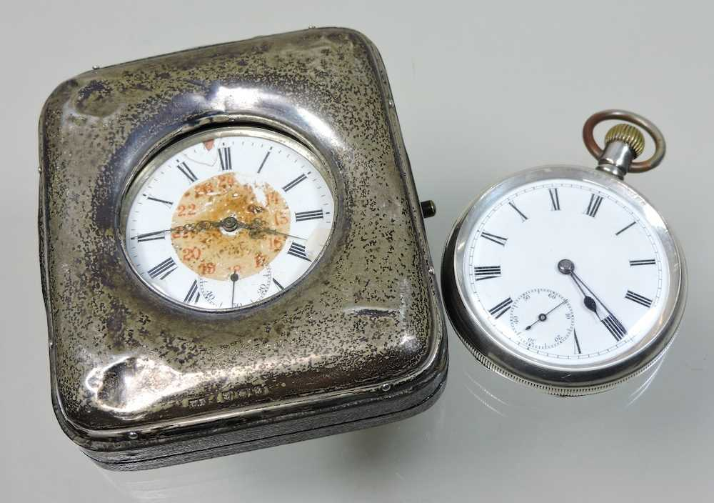 A silver open faced pocket watch - Image 3 of 5