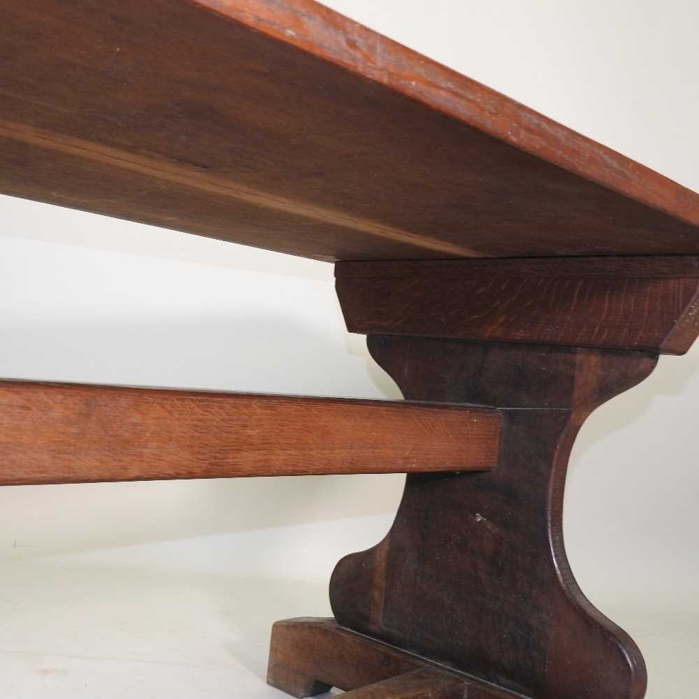 A late 19th century oak refectory table - Image 8 of 8