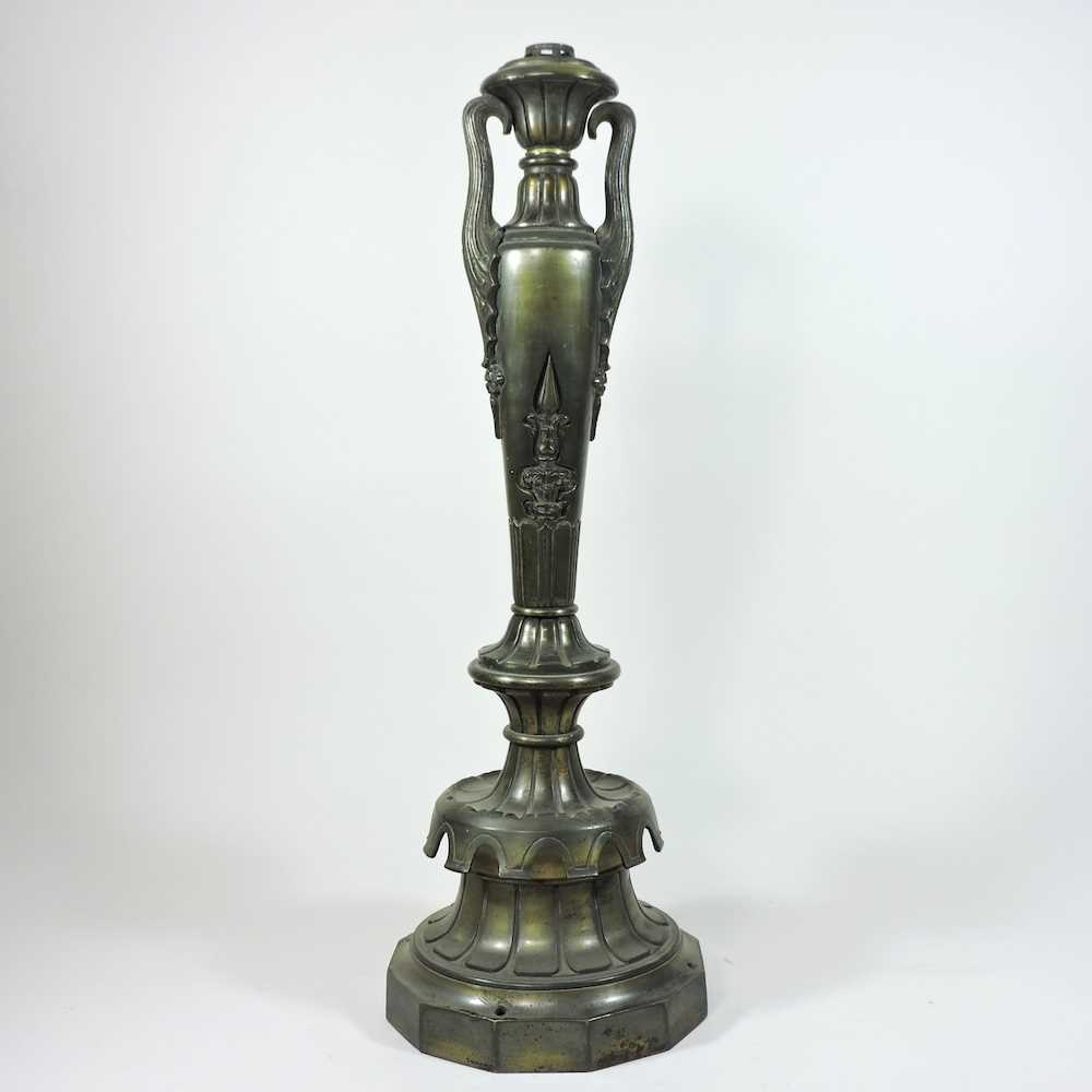 A late 19th century heavy brass table lamp