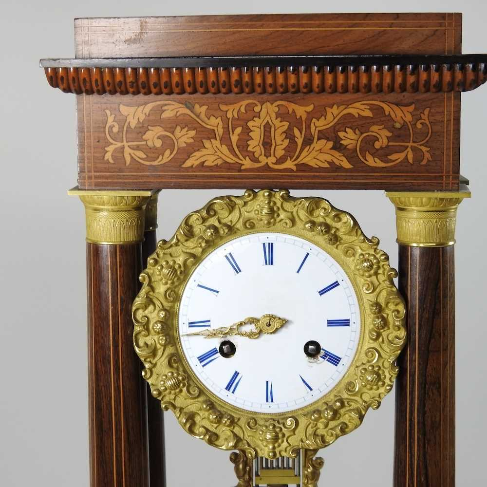 A Napoleon III rosewood and marquetry portico clock - Image 6 of 13