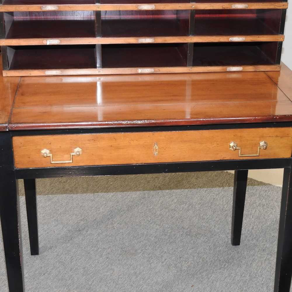 A reproduction French style fruit wood and black painted desk - Image 7 of 15