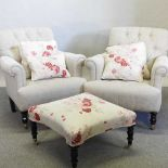 A pair of modern cream upholstered button back armchairs