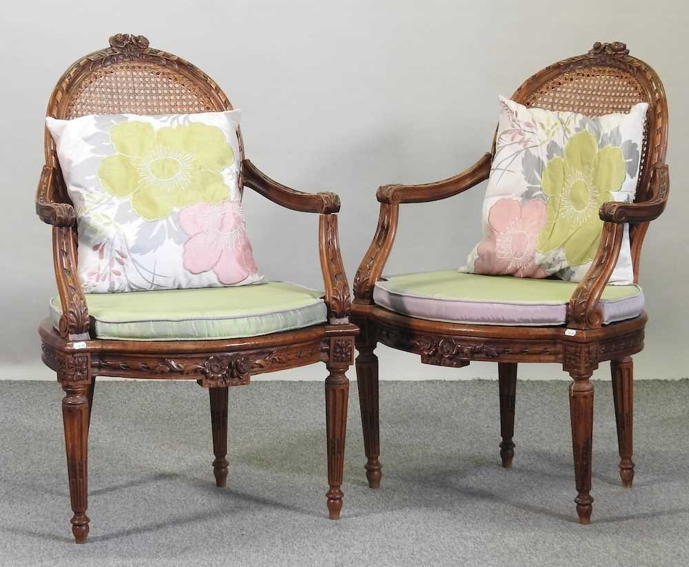 A pair of early 20th century Louis XVI style armchairs - Image 3 of 15