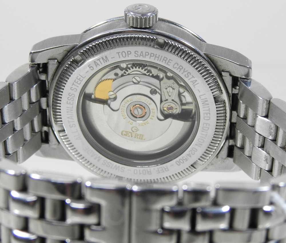 A modern Gevril steel cased chronograph wristwatch - Image 6 of 12