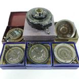 A collection of antique gramophone sound boxes