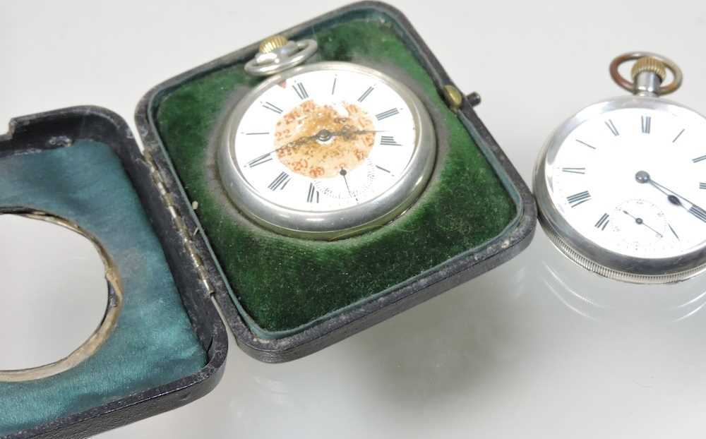 A silver open faced pocket watch - Image 4 of 5