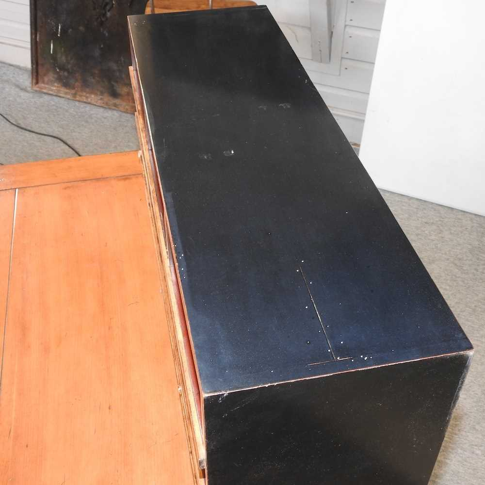 A reproduction French style fruit wood and black painted desk - Image 10 of 15