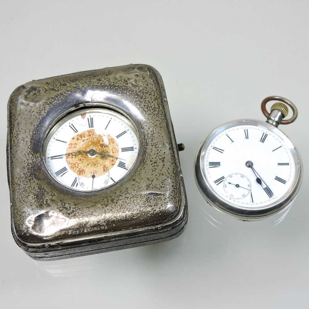 A silver open faced pocket watch