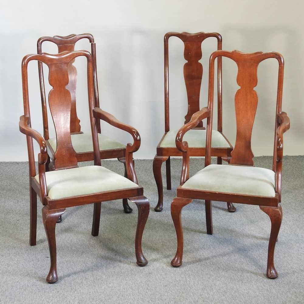 A set of four early 20th century Queen Anne style dining chairs
