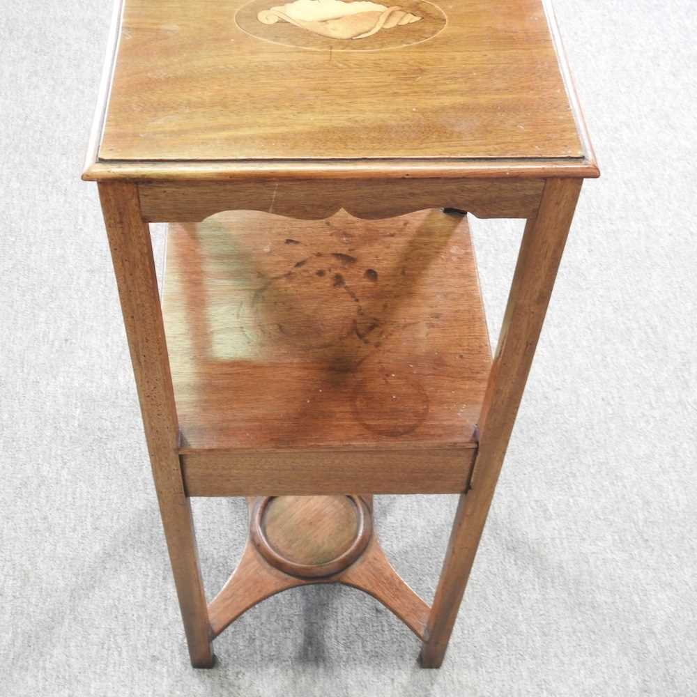A George III and later mahogany and inlaid night stand - Image 2 of 5