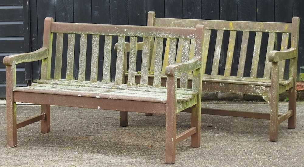 A teak slatted garden bench - Image 3 of 5