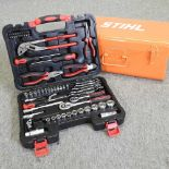 A 65 piece tool kit, together with a toolbox