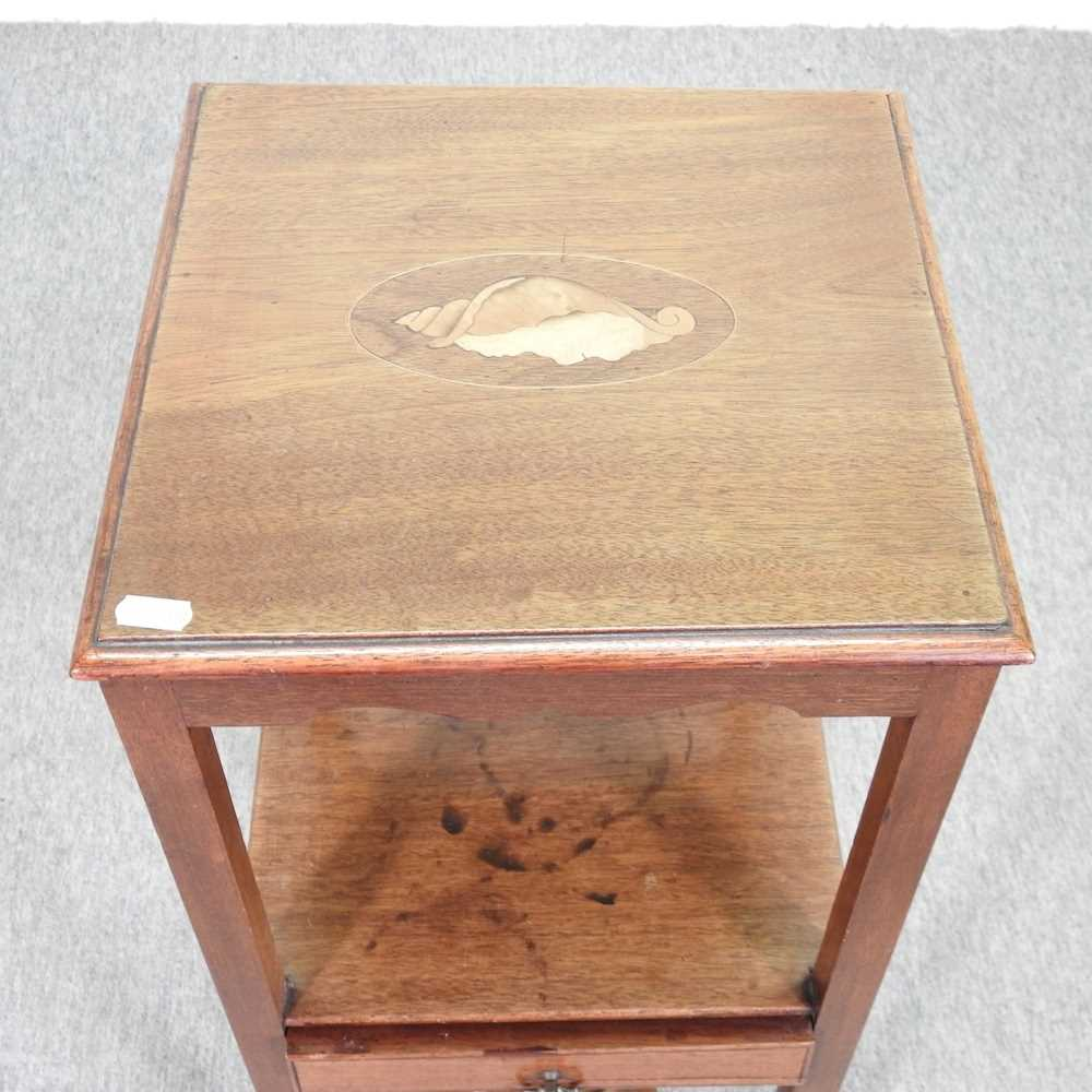 A George III and later mahogany and inlaid night stand - Image 4 of 5