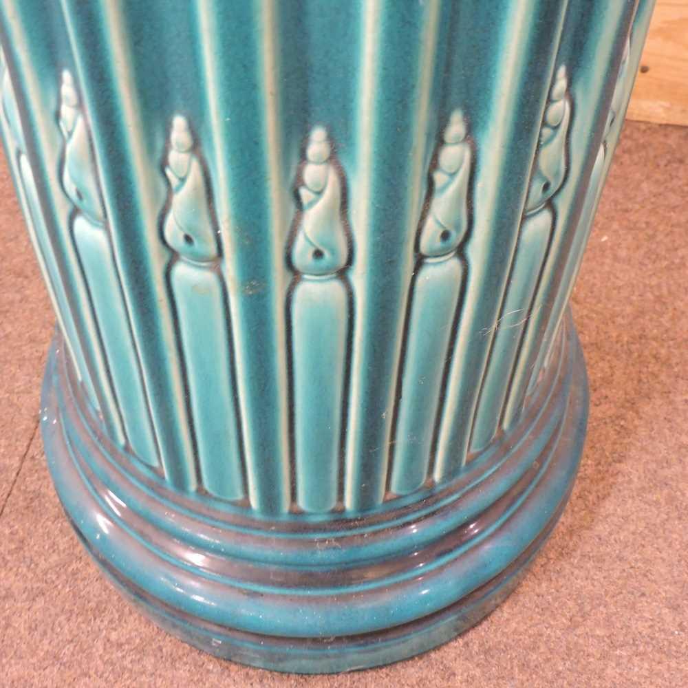 An early 20th century Bretby blue glazed jardinière base - Image 5 of 6