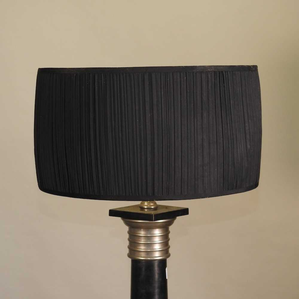 A modern black painted standard lamp and shade - Image 4 of 7