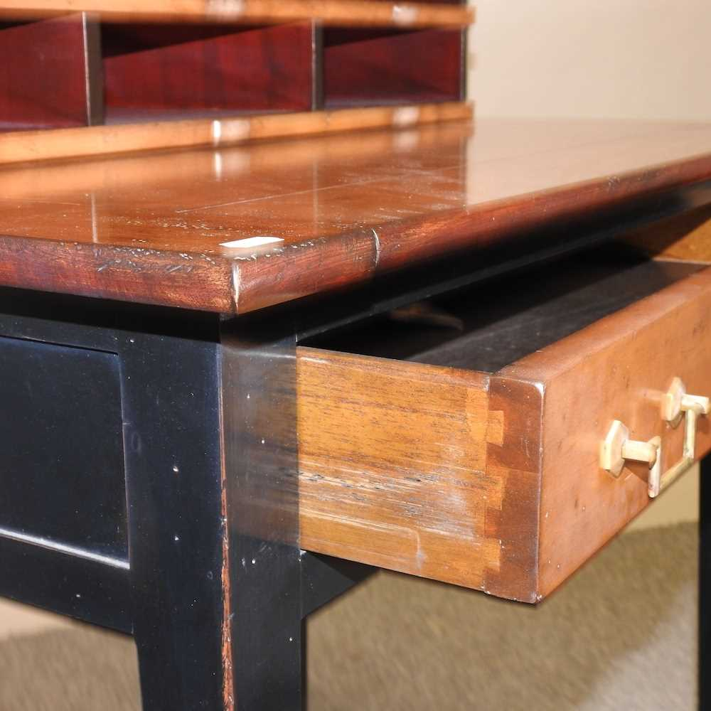 A reproduction French style fruit wood and black painted desk - Image 6 of 15