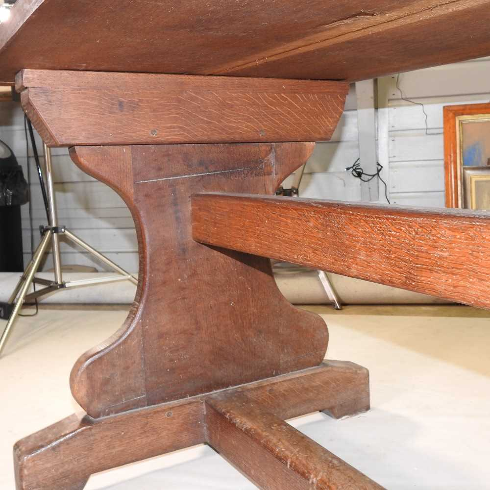 A late 19th century oak refectory table - Image 2 of 8