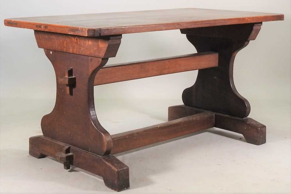 A late 19th century oak refectory table - Image 3 of 8