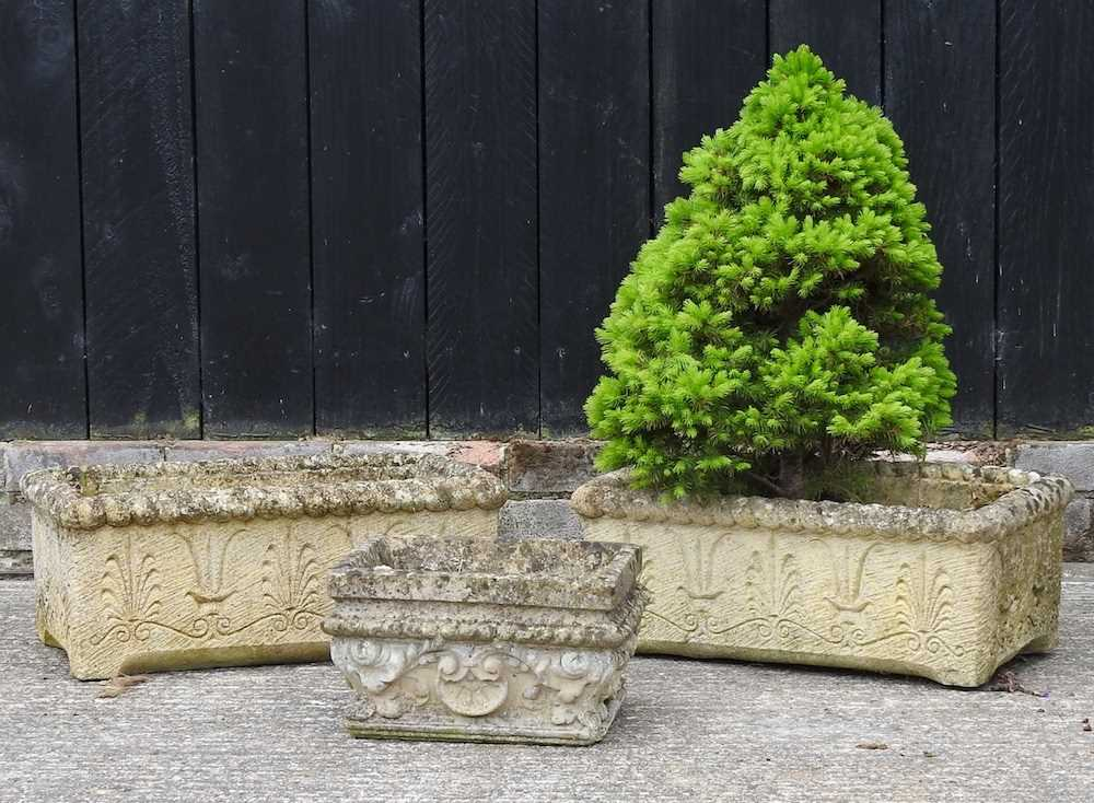 A pair of reconstituted stone troughs - Image 3 of 5